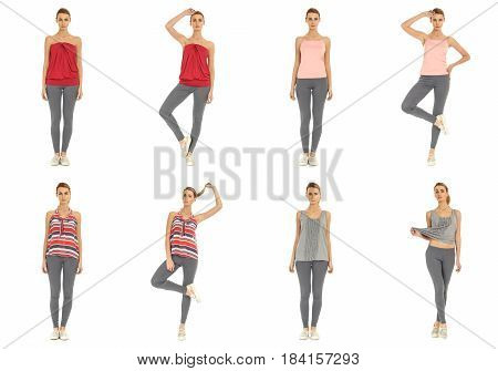 Young Crazy Girl In Leggings Isolated On White