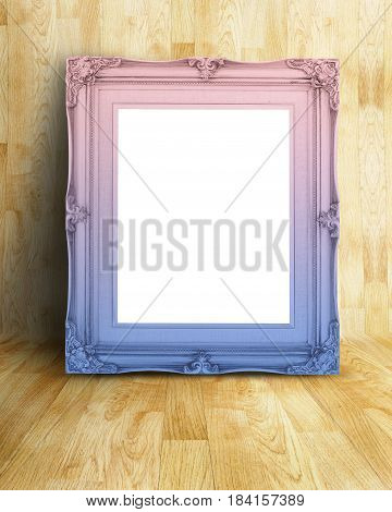 Blank Vintage Pink And Blue Gradient Victorian Style Picture Frame On Parquet Room,mock Up Template