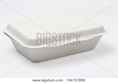 Unbleached plant fiber food box isolated on white with clipping path Natural fiber eco food box
