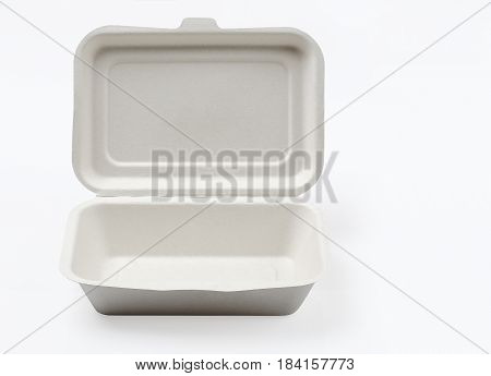 Open of unbleached plant fiber food box isolated on white with clipping path Natural fiber eco food box