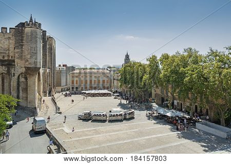 Avignon, France, September 9, 2016: This English-style city park is located in the center of the city Avignon on the Rocher des Doms 30 m above the Rhone. It offers a wide view of the old town the Rhone and Pont D' Avignon the valley and the Mont Ventoux.