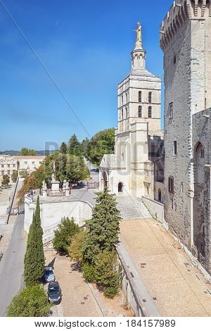 Avignon, France, September 9, 2016: Avignon Cathedral next to the Papal palace in Avignon