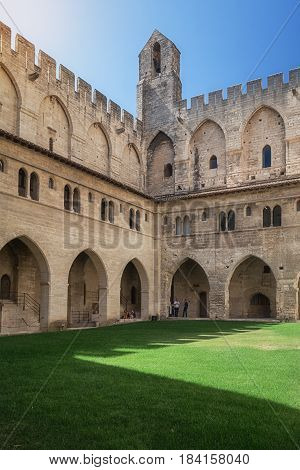 Avignon, France, September 9, 2016: Courtyard of the Papal palace in Avignon