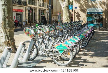 Avignon, France, September 9, 2016: short term bike rental in the old town of Avignon