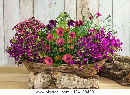 A Basket With Springtime Flowers