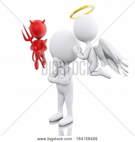 3D Illustration. White people contemplation a decision with Angel and Devil. Isolated white background.