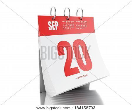 3D Day Calendar With Date September 20, 2017