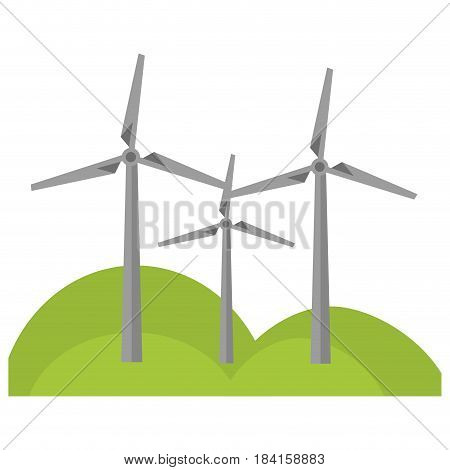 eolic turbines icon over white background. colorful design.  vector illustration