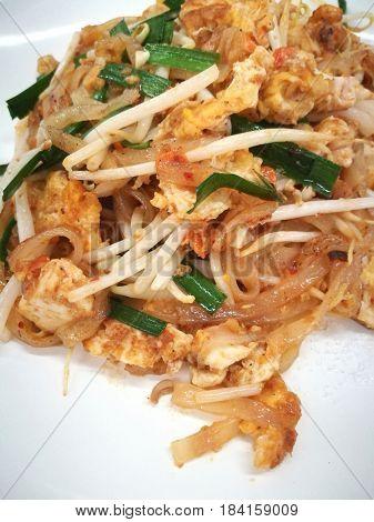 Pad Thai Stir Thai Noodle Popular Local Food Of Thailand Close Up Shot