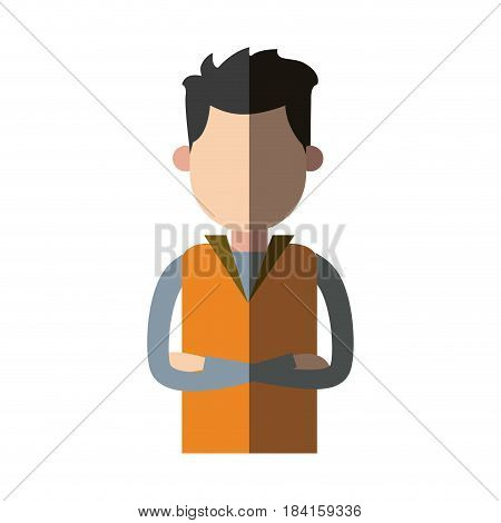 man wear vest crossed arms clothes casual vector illustration