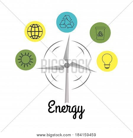 windpower with environment buttons icons, vector illustration