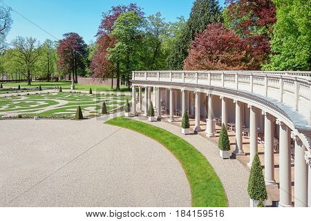 Apeldoorn The Netherlands May 8 2016: Dutch baroque garden of The Loo Palace a former royal palace and now a national museum located in the outskirts of Apeldoorn in the Netherlands