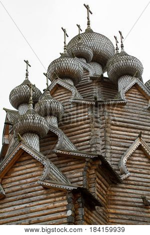 St. Petersburg. Pokrovsky courtyard with an active Orthodox church, made entirely of wood and without nails