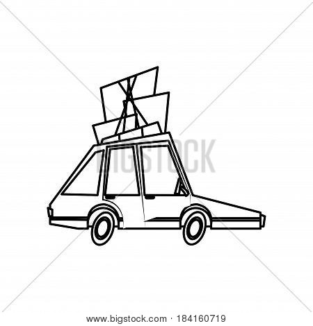 car family package roof travel comic line vector illustration