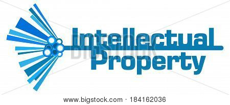 Intellectual property text written over blue abstract background.