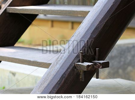 Wooden Knockdown Stair Mechanism of a Thai country house
