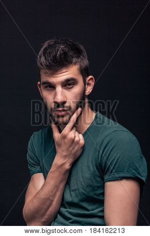 Handsome Man Portrait, Hand On Beard