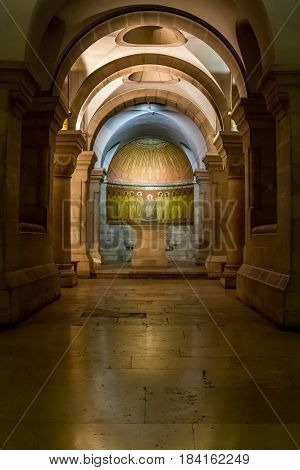 JERUSALEM, ISRAEL - DECEMBER 8: Interior of the Dormition Abbey, catholic abbey in Jerusalem, Israel on December 8, 2016