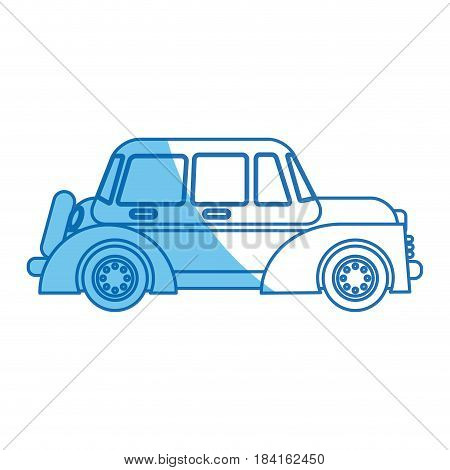 car windows wheel transport blue line vector illustration