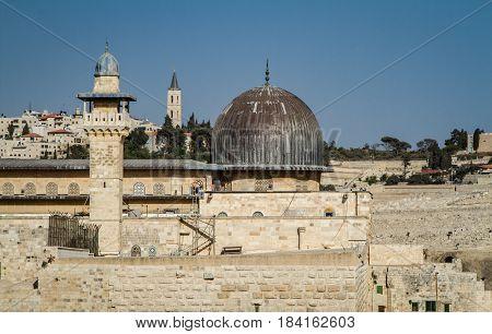 JERUSALEM, ISRAEL - OCTOBER 3: The Al-Aqsa Mosque on the Temple Mount in Old City of Jerusalem, Israel on October 3, 2016