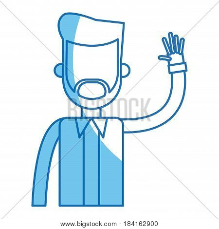 bearded man with arm up blue line vector illustration