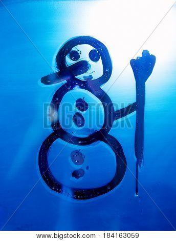 Snowman on the bathroom mirro. Drawing on Mirror