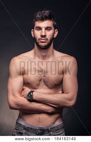 Handsome Muscular Man, Upper Body, Arms Crossed
