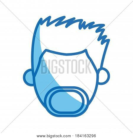 head man no face blue line silhouette vector illustration