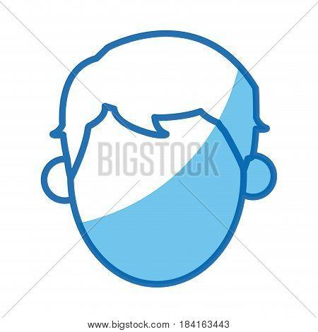blue outline head no face man vector illustration