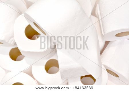 Close-up image stack of toilet papers roll top view.