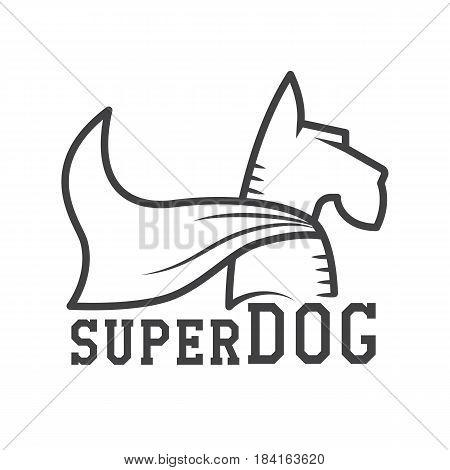 Superdog logo or label template. Super dog hero in heroic cape logotype in line design. Scotch terrier in cloak.