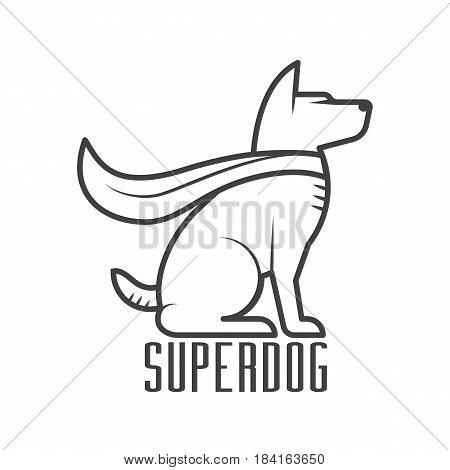 Superdog logo or label template. Super dog hero in heroic cape logotype in line design.