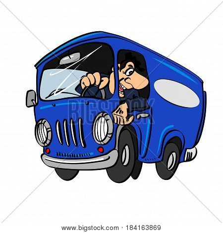 Cartoon blue bus with a driver isolated on a white background