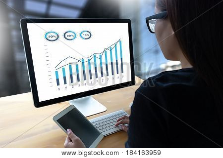 Sales Many Charts And Graphs Business Increase Revenue Shares Concept.