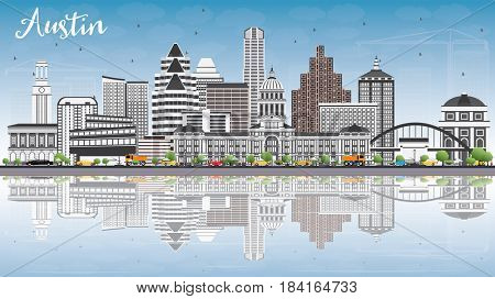 Austin Skyline with Gray Buildings, Blue Sky and Reflections. Business Travel and Tourism Concept with Modern Architecture. Image for Presentation Banner Placard and Web Site.