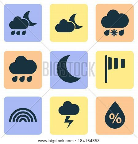 Nature Icons Set. Collection Of Rainy, Moonlight, Wet And Other Elements. Also Includes Symbols Such As Moonlight, Weather, Colors.