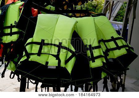 Life Jackets hanging on the clothes line.