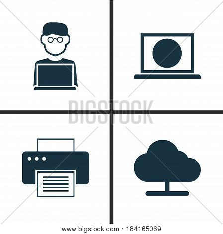 Notebook Icons Set. Collection Of Web, Tree, Printing Machine And Other Elements. Also Includes Symbols Such As Printing, Online, Cloud.