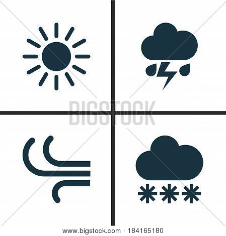 Climate Icons Set. Collection Of Breeze, Snowy, Sun And Other Elements. Also Includes Symbols Such As Light, Wind, Breeze.