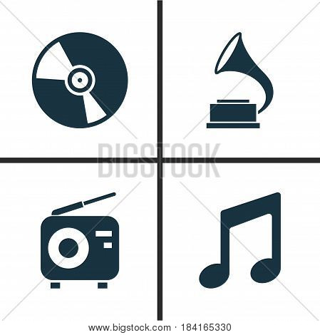 Music Icons Set. Collection Of Tuner, Phonograph, Music And Other Elements. Also Includes Symbols Such As Antique, Music, Phonograph.