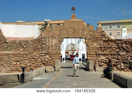 CADIZ, SPAIN - SEPTEMBER 8, 2008 - Entrance arches leading from La Caleta beach along the Paseo Fernando Quinones Cadiz Cadiz Province Andalusia Spain Western Europe, September 8, 2008.