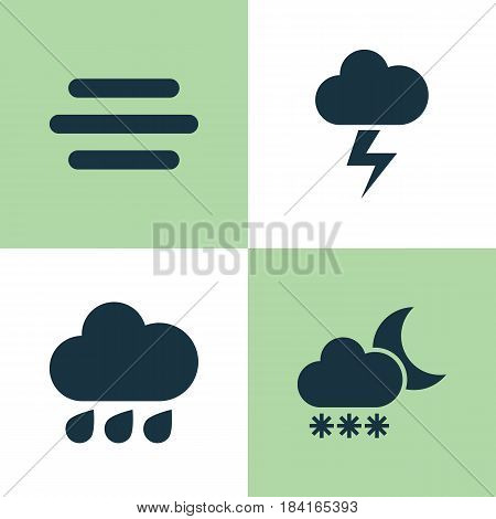 Meteorology Icons Set. Collection Of Night, Rainy, Lightning And Other Elements. Also Includes Symbols Such As Drop, Outbreak, Flash.