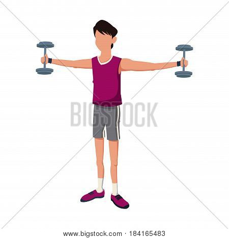fitness man weight biceps lifting vector illustration