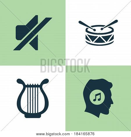 Multimedia Icons Set. Collection Of Lyre, Silence, Barrel And Other Elements. Also Includes Symbols Such As Drum, Meloman, Lover.