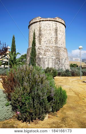 Old watchtower in the park known as the Torre Derecha Lagos Malaga Province Andalusia Spain Western Europe.