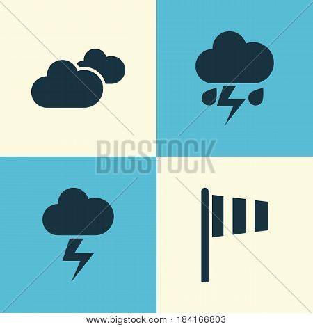 Meteorology Icons Set. Collection Of Flash, Flag, Weather And Other Elements. Also Includes Symbols Such As Flag, Vane, Outbreak.
