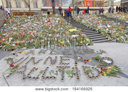 STOCKHOLM SWEDEN - APR 17 2017: Flowers from people paying respect to the victims in the terror attack in Stockholm April 07 2017. April 17 2017 in Stockholm Sweden