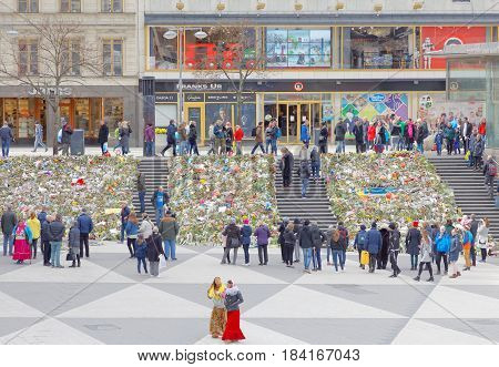 STOCKHOLM SWEDEN - APR 17 2017: Lots of flowers in central Stockholm from people paying respect to the victims in the terror attack in Stockholm April 07 2017. April 17 2017 in Stockholm Sweden