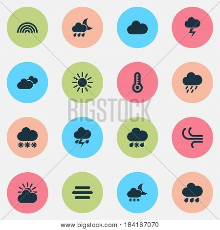 Meteorology Icons Set. Collection Of Douche, Wet, Sun-Cloud And Other Elements. Also Includes Symbols Such As Rainy, Rainbow, Wet.