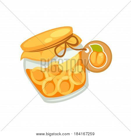 Canned orange halves apricots or jam in small jar with emblem isolated on white. Color cloth and brown rope on little tin. Vector illustration of sweet temporary closing-down or preservation food.